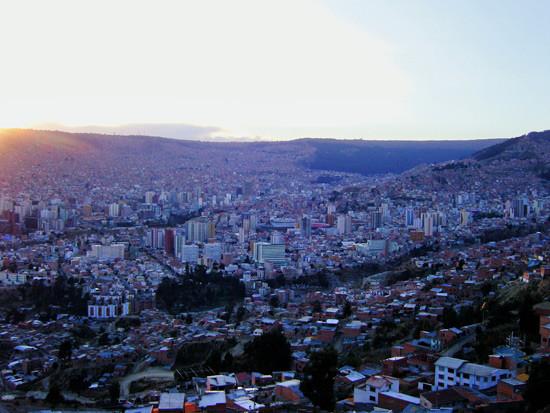 La Paz au soleil couchant