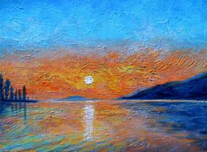 La nuit tombe sur le lac - CS4921 - Acrylique 40 x 30