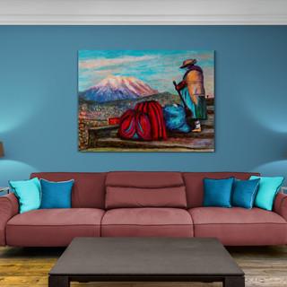 La cholita au temps du covid - CS7720 - Acrylique et pastels à la cire aquarellables