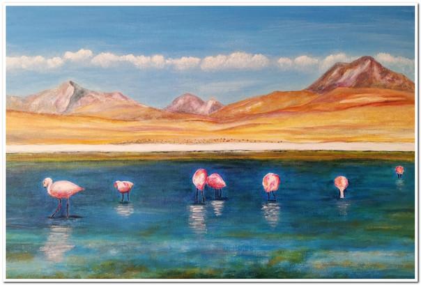 Laguna con flamingos - Acrylique sur toile 60 x 40