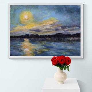 Nuit et pleine lune au bord du lac - CS5321 - Acrylique 40 x 30