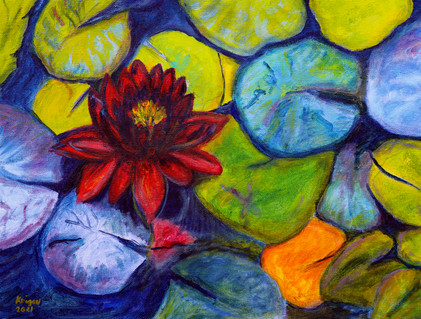 Water Lily in the rose garden - CS7221 - Acrylique 40 x 30