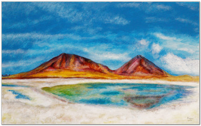 Laguna Verde II - Acrylique sur toile 60 x 38