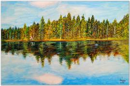Reflets sur l'étang - Acrylique et pastels à la cire - Format A4