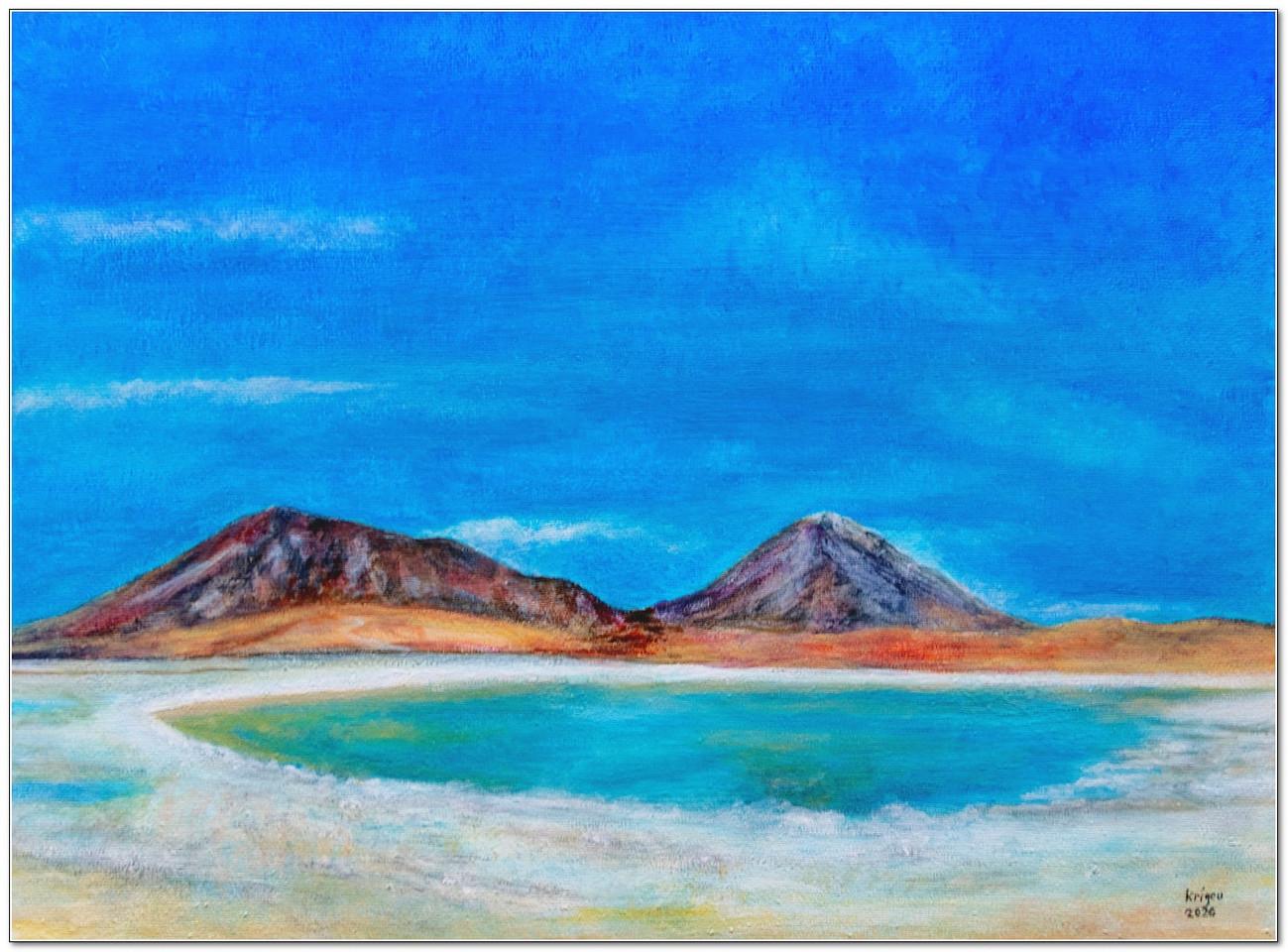 Laguna Verde - Sur Lipez - Peinture sur toile - Acrylique 40 x 30