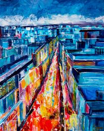 C'est beau une ville la nuit - CS8921 - Acrylique 40 x 50