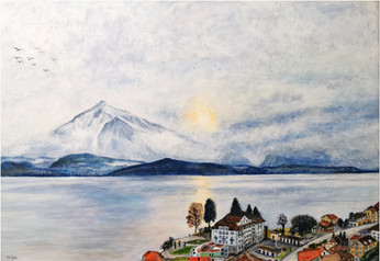 Vue sur le Niesen - CS0821 - Acrylique 70 x 50