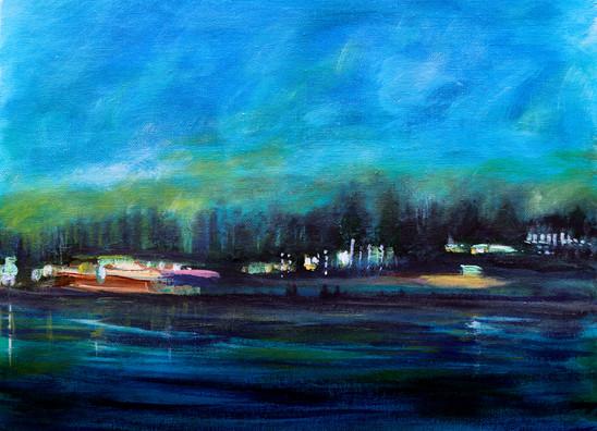 Nuit au bord de l'eau - CS7020 - Acrylique 40 x 30