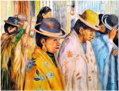 La cholita à la boucle d'or - Réf. CS0121 - Acrylique 40 x 30