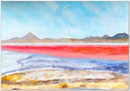 Laguna Colorada - Souvenir I - Acrylique et pastels à l'huile - Format A4