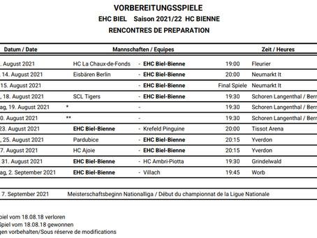 Programme de préparation de la saison 2021/22 du HC Bienne