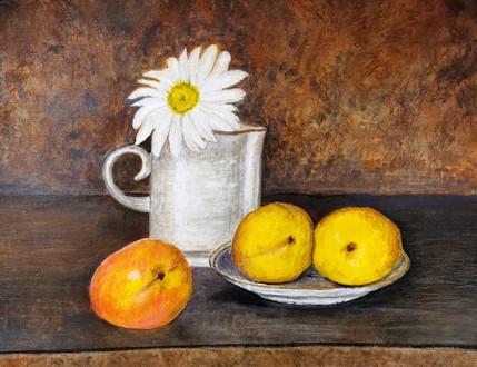 Nature morte aux abricots - Acrylique sur papier toilé 40 x 30