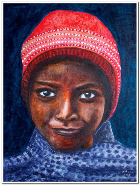Sulk - Garçon au bonnet - Acrylique 30 x 40 - CS4720