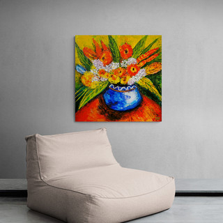 Vase bleu avec fleurs - CS3321 - Acrylique 30 x 30