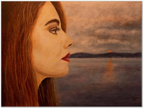 Profil d'une rousse aux lèvres peintes en rouge - Acrylique 40 x 30