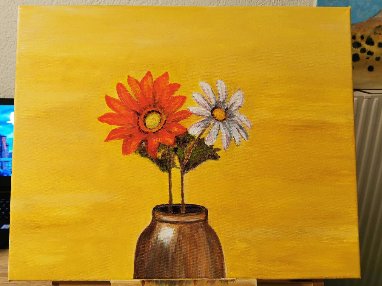 Nature morte aux deux fleurs - Acrylique 50 x 40