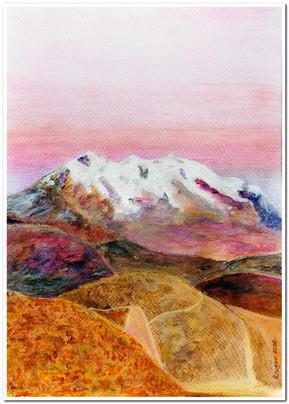 Sunset of Illimani - Technique mixte - crayons pastel et acrylique - Format A4