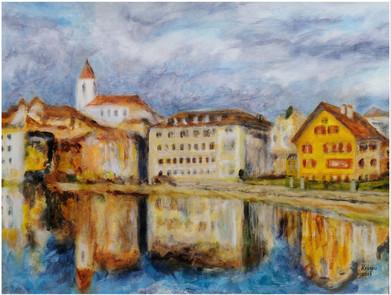 Thun - Une ville au bord de l'eau - CS0421 - Acrylique 40 x 30 sur papier toilé