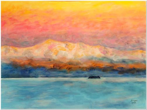 Sunset of Titicaca - CS5620 - Acrylique 40 x 30