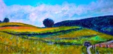Sketch - Lohngasse - the climb to Bellmund - CS6621 - Neocolor et acrylique 30 x 15