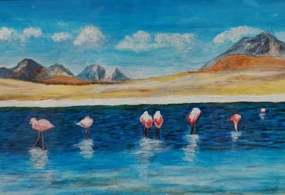 Laguna avec flamands - Bolivia