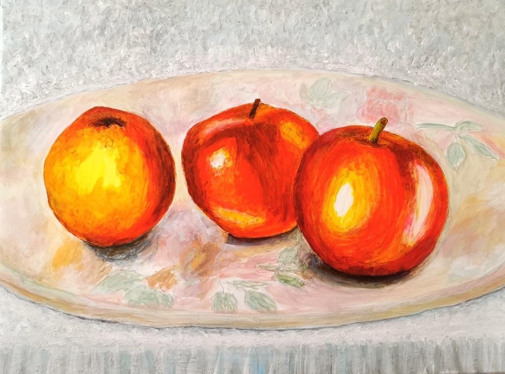 Nature morte aux 3 pommes - Acrylique 40 x 30