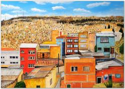 Un bout de la Paz depuis l'Autopista - Acrylique, peinture sur toile 70 x 50