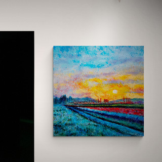 Sunset in Seeland - CS3521 - Acrylique 30 x 30