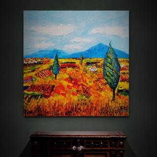 Paysage sous haute chaleur - CS3421 - Acrylique 30 x 30