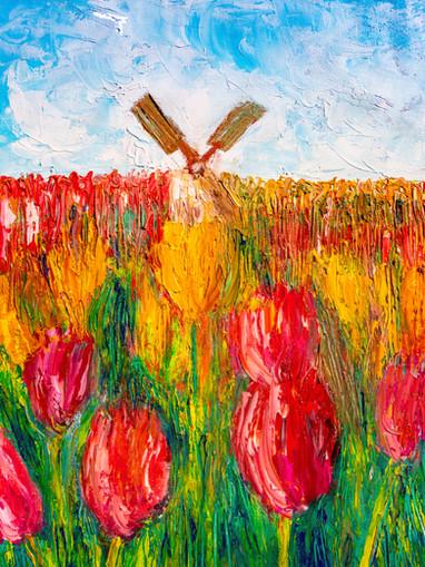 Champ de tulipes avec moulin - CS10521 - Huile sur papier toilé 30 x 40