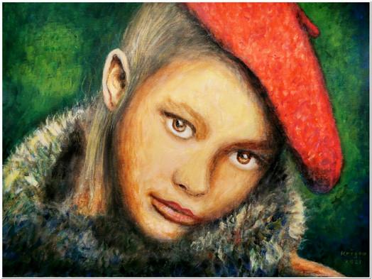 La fille au béret rouge - Réf.CS0221 - Acrylique sur papier toilé 40 x 30