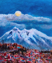 Nuit de pleine lune à la Paz - CS8021 - Acrylique 24 x 30