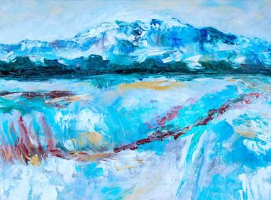 Paysage de montagne -Réf. CS10621 - Huile sur toile 40 x 30 cm