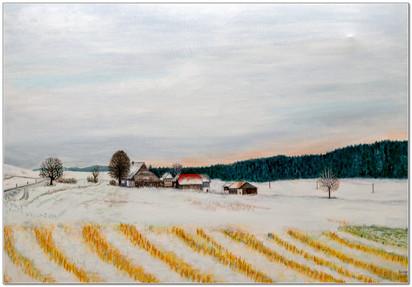 Paysage du Seeland en hiver - Acrylique sur toile - 50 x 70