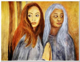 La jeunesse éternelle n'existe pas - Portrait avec réflexion dans une vitre... D'après une photo de Jessica Drossin.  Réf. CS5220  Acrylique 40 x 30