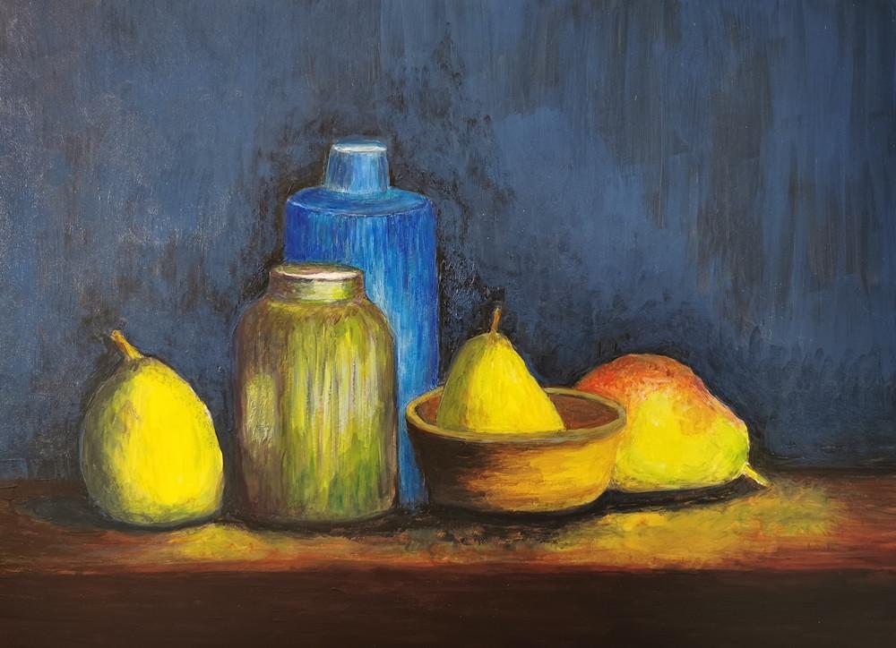Étude - Nature morte de pommes à la sauce Cézanne Acrylique 40 x 30