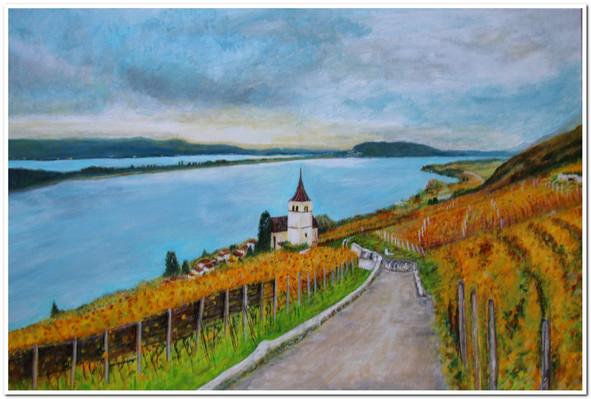 Panoramique au bord du lac de Bienne, Acrylic, 60x40