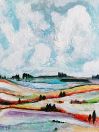 Paysage avec champ de lavande - CS4321 - Acrylique 30 x 40