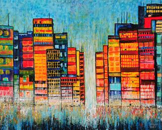 Sunset over Tetris - CS2821 - Acrylique 50 x 40