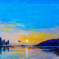 Sunset of Bielersee - CS3921 - Acrylique 30 x 30