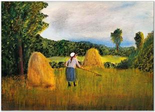 La grand-mère coupant l'herbe