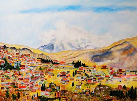 Un bout de la Paz avec l'Illimani - CS2621 - Acrylique 80 x 60