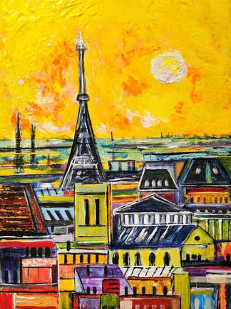 Les toits de Paris 1 - CS2721 - Acrylique 30 x 40