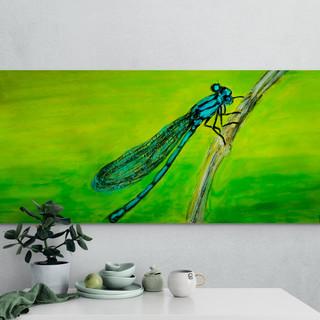 Croquis - Libellule sur un branchage - CS6521 neocolor et acrylique 22 x 9 cm