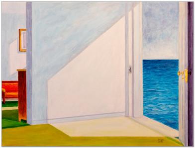 Étude d'ombres et de lumière d'après Edward Hopper - Acrylique sur toile 40 x 30