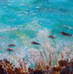 Vagues se brisant sur les rochers - CS6921 - Acrylique 22 x 22