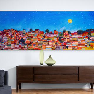 Barrio a la luz de la luna - CS6321 - Acrylique 60 x 22