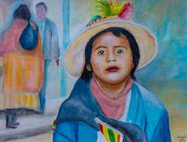 La petite cholita bolivienne - Acrylique sur papier toilé 40 x 30