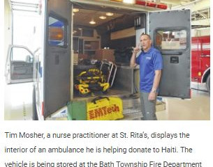 ​Local agencies team up to send ambulance to Haiti