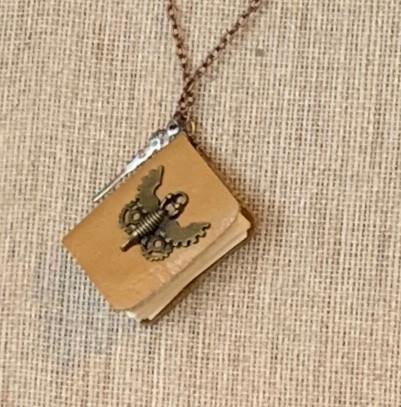 tan mini-journal necklace